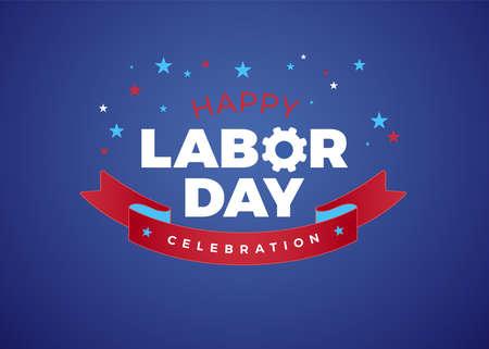 Happy Labor Day celebration text vector illustration - USA Happy Labor Day lettering design, blue holiday background Ilustração