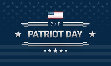 Patriot Day September 11 powerful American design. Dark blue background w United States flag, Patriot Day 911 lettering, ribbons. Vector illustration for Patriot Day poster, banner, greeting card