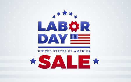 Labor Day sale banner template design w American flag, Labor Day lettering, United States of America - vector illustration isolated on white background Ilustração