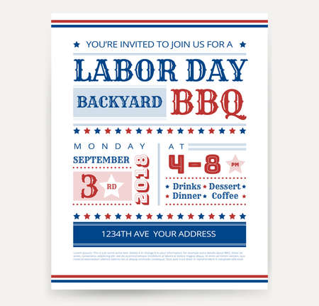Labor Day BBQ invitation template - Labor Day USA grill party flyer design - vector illustration retro style Ilustração