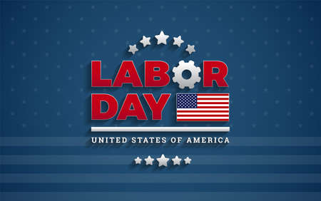 USA Labor Day background vector illustration with USA flag, Labor Day United States Of America typography design Ilustração