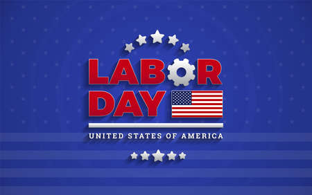 Awesome Labor Day text logo on blue background professional vector illustration with USA flag, Labor Day United States Of America lettering design Ilustração