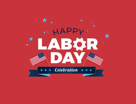 Happy Labor Day USA celebration vector illustration with American flags, and Happy Labor Day text logo on red background Ilustração