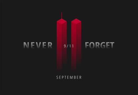 9/11 illustrazione vettoriale per Patriot Day USA. Sfondo nero con red Twin Towers, Never Forget Lettering. Poster degli attacchi dell'11 settembre USA Vettoriali