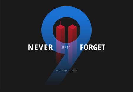 911 vector illustration for Patriot Day USA. Never Forget September 11 Attacks poster Ilustração