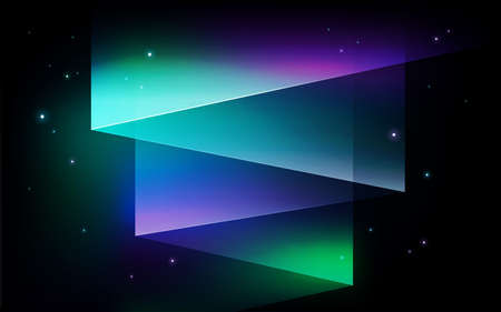 Abstract vector background - Aurora borealis Northern lights. Shining green, purple gradient lights in starry sky on a winter night. Magical illustration