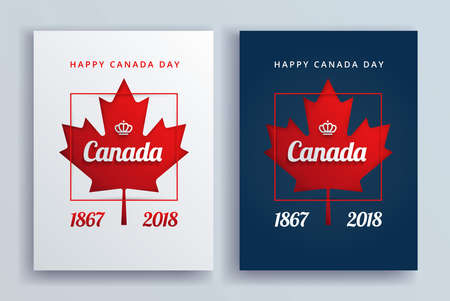 Canada Day posters vector illustration background with Canada red maple leaf, Happy Canada Day lettering, crown - vertical
