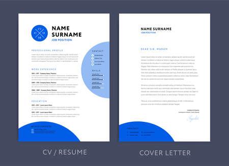 Professional CV resume template blue design and letterhead  cover letter - vector minimalist design
