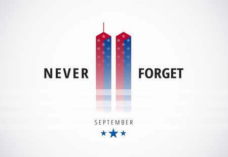 911 September 11 attacks conceptual logo banner w Never Forget text. Patriot Day United States. USA vector illustration design Ilustração