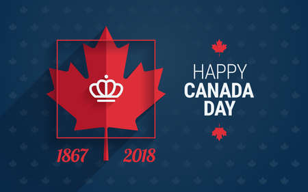 Canada Day greeting card - Happy Canada Day text and maple leaf on blue background for Canada national day celebration - vector illustration Иллюстрация