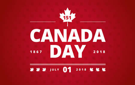 Canada Day greeting card red background - Canada Day typography design, Canada maple leaf, July 1st greeting card vector