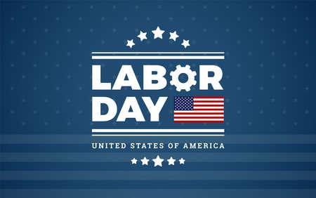 Labor Day logo background USA - dark blue background, stars, stripes texture, the United States flag - labor day vector illustration