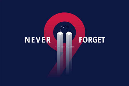 9/11 USA Never Forget September 11, 2001. Vector conceptual illustration for Patriot Day USA poster or banner. Black background, red, blue colors Vettoriali