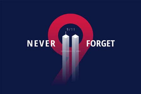 9/11 USA Forget Never 11 september 2001. Conceptuele vectorillustratie voor Patriot Day USA poster of spandoek. Zwarte achtergrond, rode, blauwe kleuren
