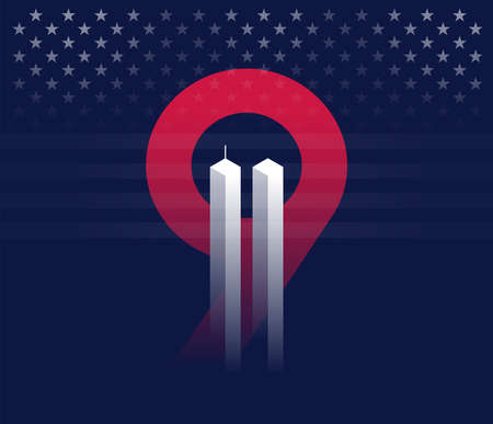 911 vector conceptual illustration. Never Forget September 11, 2001 Attacks in New York. Dark blue background with red 9 and twin towers looking like ghosts. Vector concept illustration