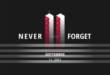 September 11 Never Forget USA 911 - conceptual image for USA Remembrance Day banner, poster, illustration. Black concept design background vector Ilustração
