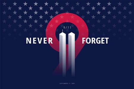 911 USA Never Forget September 11, 2001. Vector conceptual illustration for Patriot Day USA poster or banner. Black background, red, blue colors Ilustração
