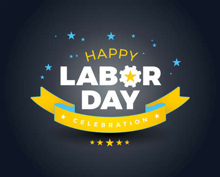 Happy Labor Day celebration banner background sale - Happy Labor Day lettering vector illustration - yellow, blue stars and ribbon, dark background Иллюстрация