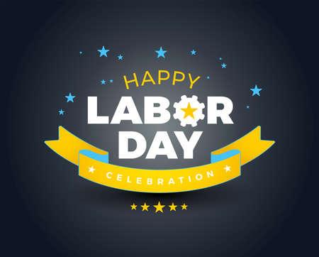 Happy Labor Day celebration banner background sale - Happy Labor Day lettering vector illustration - yellow, blue stars and ribbon, dark background Ilustração