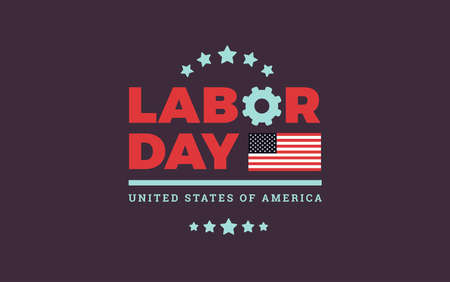 Labor Day red logo background USA w/ the United States flag - labor day sale banner design vector illustration