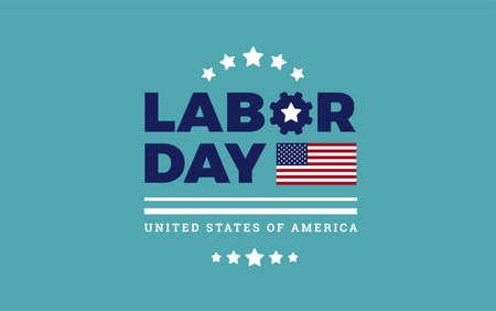 Labor Day logo background USA - background, stars, stripes texture, the United States flag - labor day sale vector illustration Ilustração