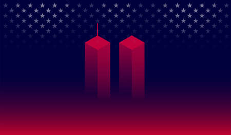 911 Attack Remembrance Memorial Day banner vector illustration. September 11 2001, USA, 911 memorial. The United States National Remembrance Day abstract conceptual background