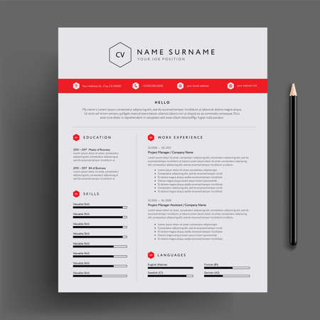 Stylish CV  resume design template red. Super clean and clear professional modern design. Red design elements and icons - vector template