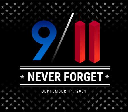 9/11 Patriot Day, le 11 septembre, nous n'oublierons jamais. Illustration vectorielle mémorial du 11 septembre avec des étoiles sur fond noir