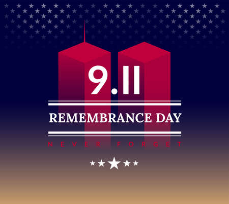 9/11 USA Never Forget September 11, 2001. Vector conceptual illustration for Patriot Day USA poster or banner. Abstract background, red, blue, golden colors
