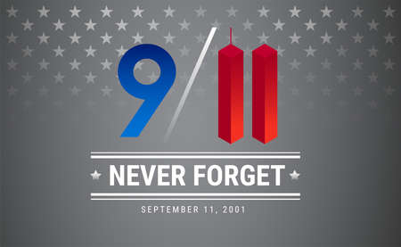 Patriot day poster. September 11. 9 / 11 Memorial Remembrance Day USA illustration. Silver stars vector background