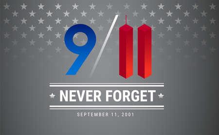 Patriot dag poster. 11 september. 9/11 Memorial Remembrance Day USA illustratie. Zilveren sterren vector achtergrond Vector Illustratie