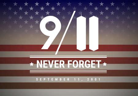 Fond d'illustration vectorielle 9/11 Patriot Day. Nous n'oublierons jamais le 11 septembre 2001 Vecteurs