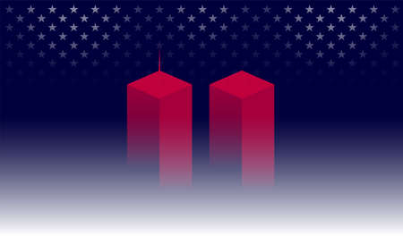9/11 Memorial background with red Twin Towers, New York. Dark blue background w/ stars. 911 Remembrance Day USA vector