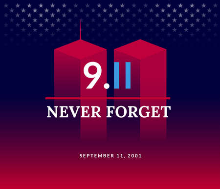 911 USA Never Forget September 11, 2001. Vector conceptual illustration for Patriot Day USA poster or banner. Abstract background, red, blue colors