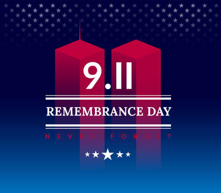 911 USA Never Forget September 11, 2001. Vector conceptual illustration for Patriot Day USA poster or banner. Dark background, red, blue colors