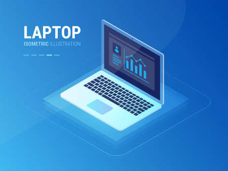 Isometric laptop high quality vector illustration with user information on laptop screen and user data statistics graph icon