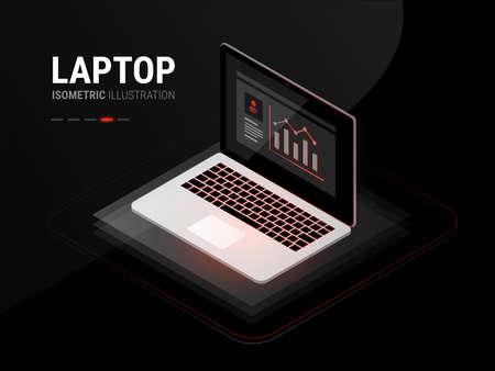 Laptop sleek vector illustration - black and red futuristic cool high tech custom software development design