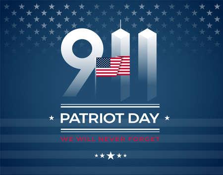 9/11 Memorial, Patriot Day-kaart met de Amerikaanse vlag. We zullen 11 september nooit vergeten, vectorillustratie Vector Illustratie