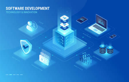 Software development process isometric infographics icons. Software development digital platform connects database, user, cyber security, laptop, mobile phone and company business analytics - vector