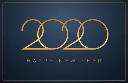 Elegant 2020 New Year background. Golden classy design for Christmas and New Year 2020 greeting cards. Vector background in gold and dark blue color