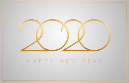 2020 Happy New Year greeting card - golden numbers on a silver background - vector 2020 New Year celebration background Иллюстрация