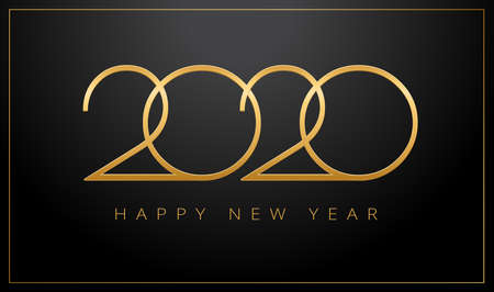 Luxury 2020 Happy New Year greeting card gold and black background - luxury design vector illustration