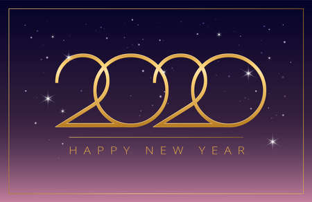 Magical New Year 2020 stars party celebration - dreamy greeting card design - Golden 2020 and Happy New Year on purple night sky background - vector new year 2020