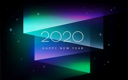Aurora borealis 2020 New Year celebration in the North starry sky, northern lights night sky background with 2020 holiday greetings - purple, green northern lights abstract vector background Иллюстрация
