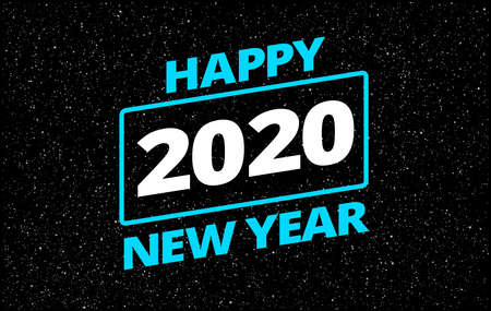 Happy New Year 2020 in retro star movie style space theme background - neon blue typography Happy New Year 2020 in starry sky illustration. Creative 2020 New Year background