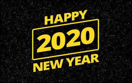 Funny creative New Year 2020 greeting card - retro star space theme - yellow typography Happy New Year 2020 on black night sky background - vector illustration