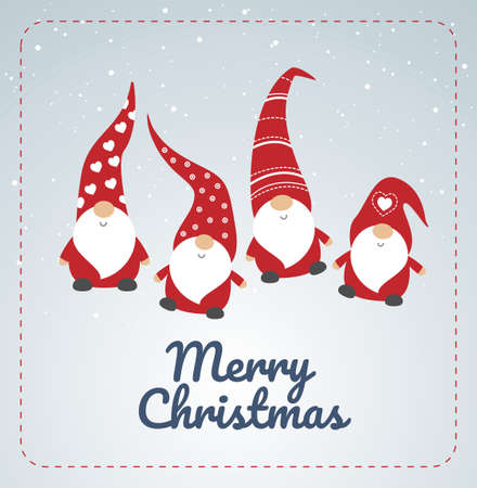 Christmas card with cute little Christmas gnomes in red hats dancing - winter seasons greetings - vector illustration Stock Illustratie