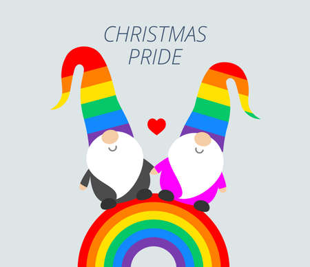 Christmas Pride celebration party funny greeting card with cute Santa elves gnomes in rainbow hats, and rainbow flag. Vector Christmas Pride illustration Иллюстрация