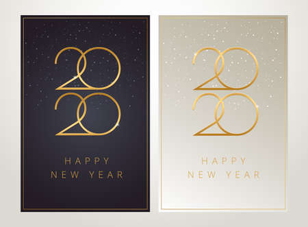 2020 Happy New Year greeting cards - black and golden with luxury 2020  text and flying golden holiday confetti background. Vector New Year illustration