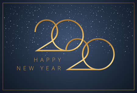 Happy New Year 2020 logo text design. New year minimal graphic for company greeting card, Save the date event or holiday celebration. Vector illustration with golden 2020 typography on blue background